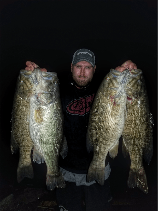 catching big bass at night