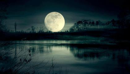 full moon while fishing at night